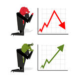 Bull and Bear pray to bet on stock exchange.Green up arrow. Red
