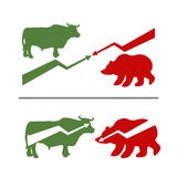 Bull and bear. Rise and fall of securities. Green Bull. Red bear. Confrontation between traders on stock exchange. Business illustration Royalty Free Stock Photos