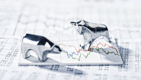 Bull and Bear and share prices Stock Images