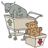Bull and Bear Shopping Carts Stock Photography