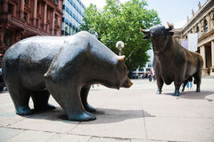 Bull and bear. Statue in front of the stock exchange in Frankfurt am Main, Germany Royalty Free Stock Photography