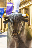 Bull and Bear Statues at the Frankfurt Stock Exchange Royalty Free Stock Images