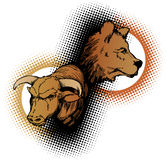 Bull and Bear stock market. An illustration of a bull and bear, icons of the stock market and trading industry Stock Images