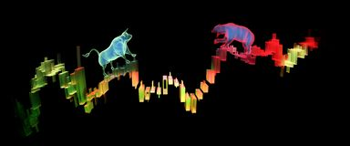 Bull and Bear on Stock Market candles. Rendered image of finance representation, with holographic bull and bear on market candles vector illustration