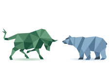 Bull and bear stock market. 3d illustration of bull and bear stock market concept, white background Stock Image