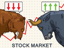 Bull and Bear stock market illustration. Angry bull and bear as symbols of stock market trends. Vector illustration in cartoon style Royalty Free Stock Image