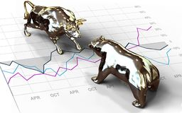 Wall Street Bull and Bear investing. Bull and bear stock market investment symbols on financial chart 3d render Stock Photos