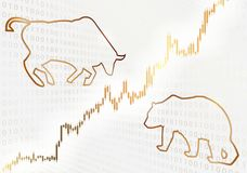 Bull and bear symbols and a stock chart. Financial concept Royalty Free Stock Photo