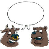 Bull and Bear Talking Stock Photography