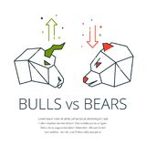 Bull and bear. Traders symbols,bear and bull icon with buy sell arrow - concept for stock market and forex trading,financial vector illustration Royalty Free Stock Photo