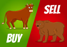 Bull and bear. Vector illustration of bull and bear with buy and sell text Royalty Free Stock Photography