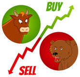Bull and bear1. Vector illustration of bull and bear heads with buy and sell text Royalty Free Stock Photography