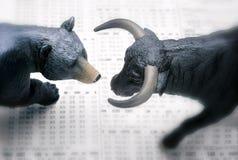Bull bear Wall Street. Wall Street investment bull and bear Stock Photo