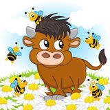 Bull and bee. Vector illustration, eps Stock Image