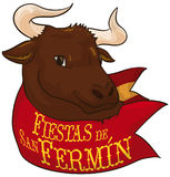 Bull behind Red Handkerchief Celebrating Spanish Festival of San Fermin, Vector Illustration. Poster with a bull head behind a red ribbon ready for the running Stock Image