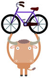 Bull and bike Stock Image