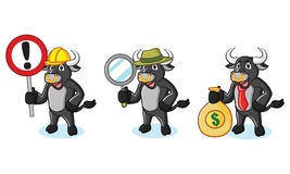 Bull Black Mascot with money. Sign and magnifying Royalty Free Stock Photography