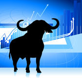 Bull on blue stock market graph background. 