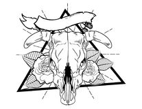 Bull bones with flower and leafes vintage neo traditional tattoo black and white sketch. tattoo and t-shirt designs. Hand drawn retro animal tattoo sketch with vector illustration