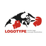 Bull Boxing gloves vector logo template creative illustration. Bull figure sign. fighter icon. Fitness sport symbol. Black and white insignia. Martial arts Royalty Free Stock Photo