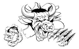 Bull breaking through wall. An illustration of a Bull breaking through the wall or background Stock Image