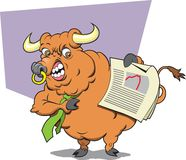 Bull Broker. This is a Bull Broker upset with recent market downward trends Royalty Free Stock Photo