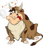Bull after bullfight. Cartoon Royalty Free Stock Images