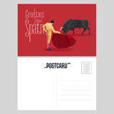 Bull and bullfighter on Spanish arena during bullfighting performance vector postcard Royalty Free Stock Photography