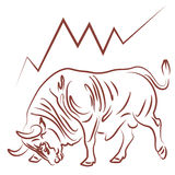Bull and bullish stock market trend Stock Photo