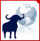 Bull on business background with red border. 