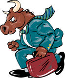 Bull in Business Suit. Running bull in a business suit Royalty Free Stock Image