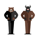 Bull Businessman. Bear Businessman. Bulls and bears traders on s Stock Photo