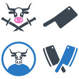 Bull Butchery Flat Icons Royalty Free Stock Photography
