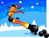 Bull on cannon ball vector illustration