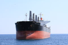 Bull carrier. Ship anchored in Alicante bay Stock Images