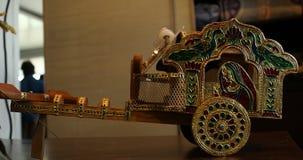 Bull cart Decorative piece closeup stock footage