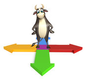 Bull cartoon character  with arrow sign. 3d rendered illustration of Bull cartoon character  with arrow sign Stock Image