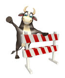 Bull cartoon character with baracades. 3d rendered illustration of Bull cartoon character with baracades Stock Images
