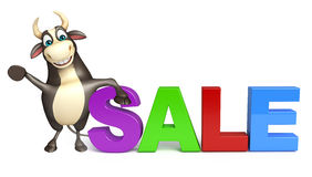 Bull cartoon character with big sale sign. 3d rendered illustration of Bull cartoon character with big sale sign Stock Images