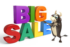 Bull cartoon character with big sale sign. 3d rendered illustration of Bull cartoon character with big sale sign Royalty Free Stock Images