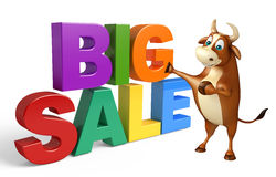 Bull cartoon character with big sale sign Royalty Free Stock Images