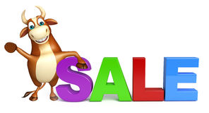 Bull cartoon character with big sale sign Stock Image