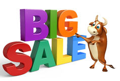 Bull cartoon character with big sale sign Stock Photos
