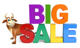 Bull cartoon character with big sale sign Royalty Free Stock Photo