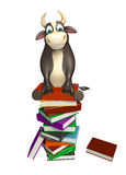 Bull cartoon character with book stack. 3d rendered illustration of Bull cartoon character with book stack Stock Images
