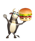 Bull cartoon character with burger. 3d rendered illustration of Bull cartoon character with burger Royalty Free Stock Photography