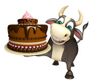 Bull cartoon character with cake. 3d rendered illustration of Bull cartoon character with cake Stock Photos