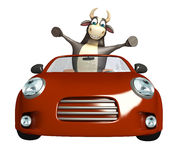 Bull cartoon character with car. 3d rendered illustration of Bull cartoon character with car Royalty Free Stock Image