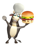 Bull cartoon character with chef hat and burger Stock Photo