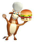 Bull cartoon character with chef hat and burger Stock Image